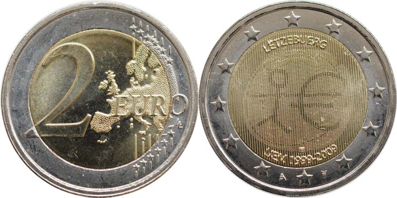 Luxemburg : 2 Euro 10 Jahre Euro  2009 bfr