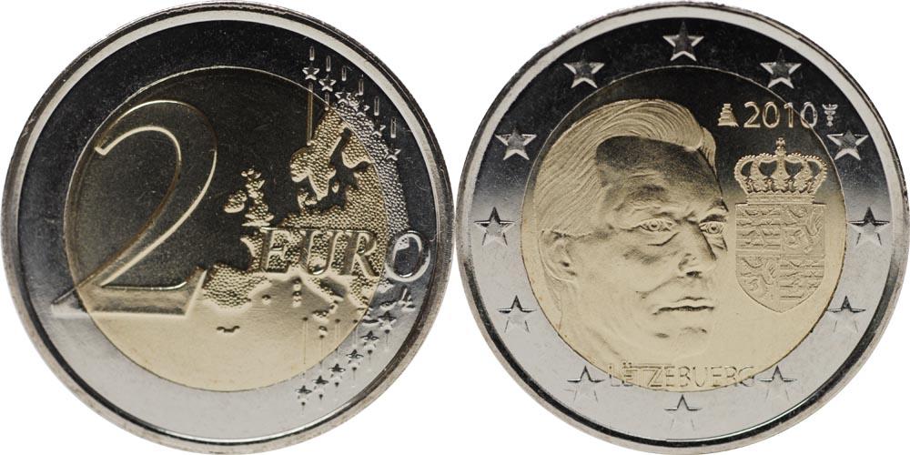 Luxemburg : 2 Euro Wappen des Grossherzogs Henri  2010 bfr 2 Euro Luxemburg 2010