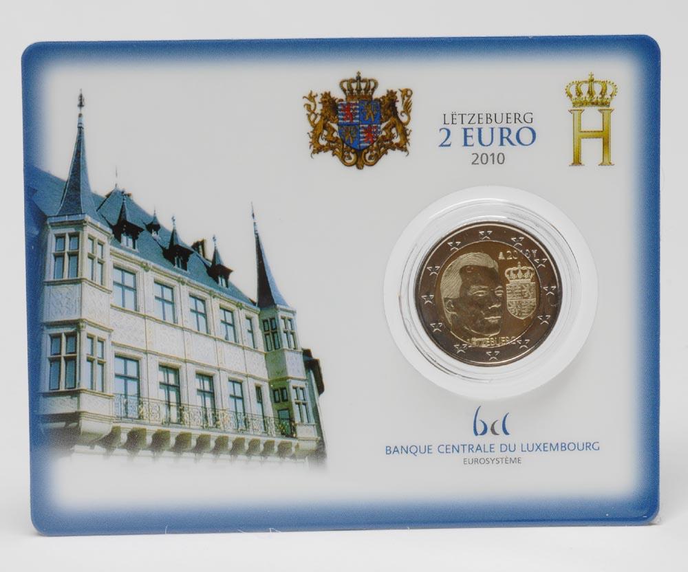 Lieferumfang:Luxemburg : 2 Euro Wappen des Grossherzogs Henri in Coincard  2010 Stgl. 2 Euro Luxemburg 2010 Coincard