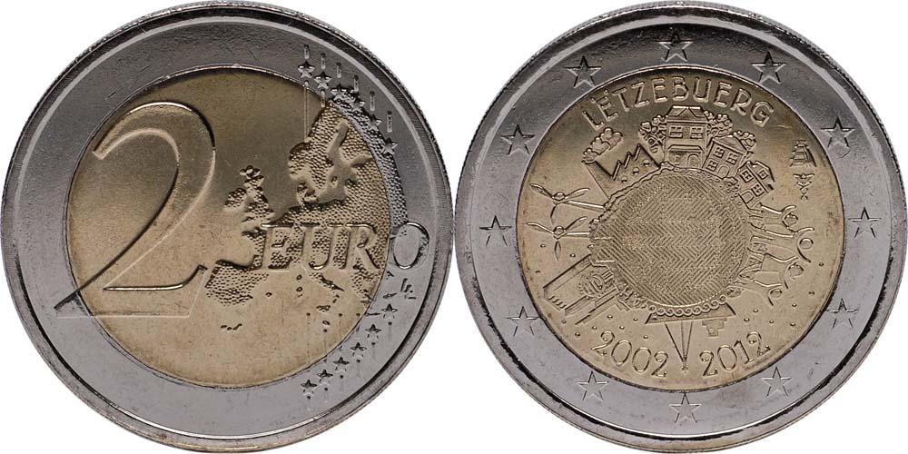 Lieferumfang:Luxemburg : 2 Euro 10 Jahre Euro Bargeld  2012 bfr