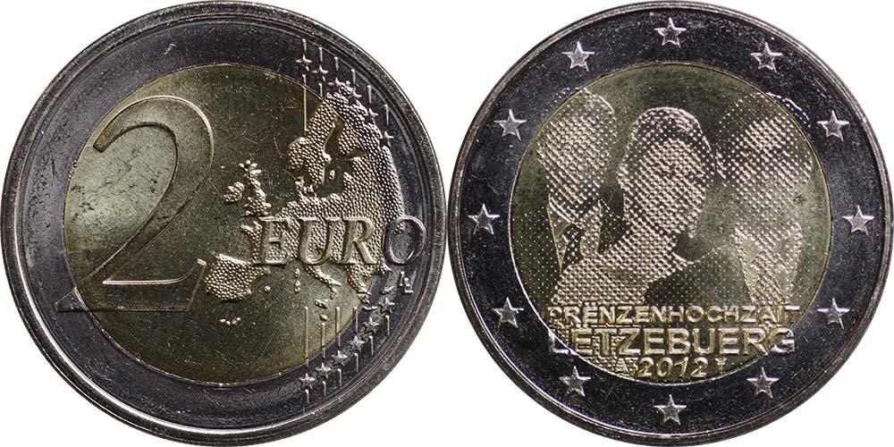 Luxemburg : 2 Euro Hochzeit Guillaume und Stephanie  2012 bfr