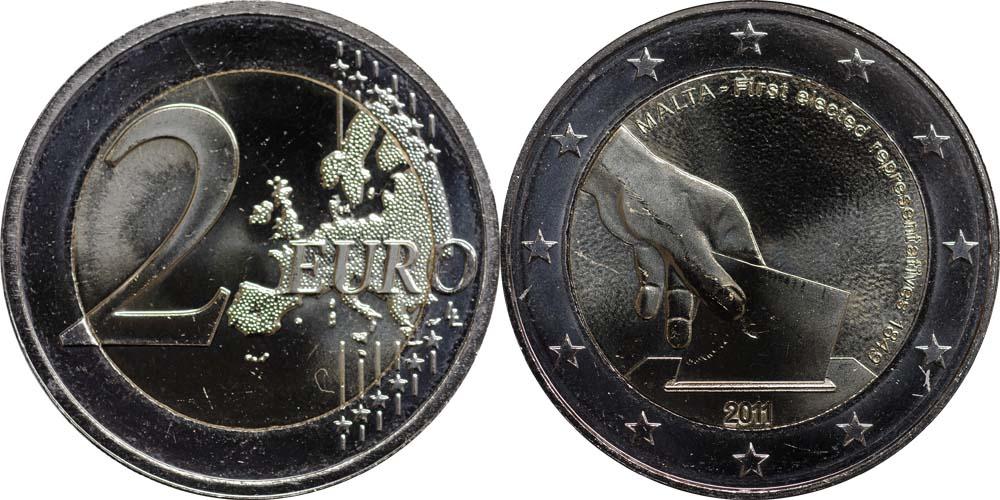 Übersicht:Malta : 2 Euro Wahl der ersten Abgeordneten 1849  2011 bfr