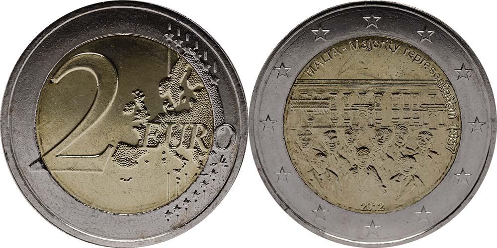 Malta : 2 Euro Mehrheitswahlrecht 1887  2012 bfr