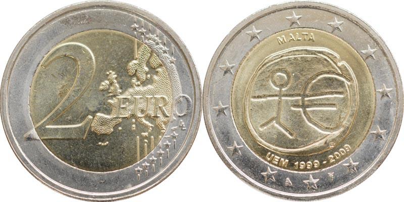 Malta : 2 Euro 10 Jahre Euro  2009 bfr