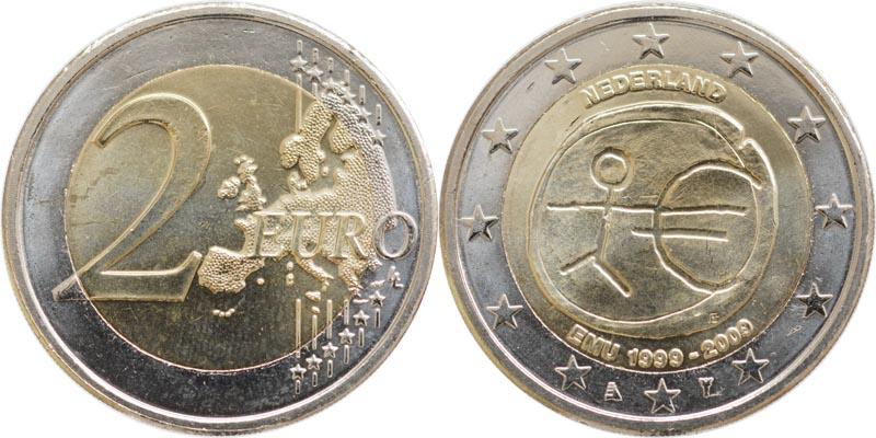 Übersicht:Niederlande : 2 Euro 10 Jahre Euro  2009 bfr