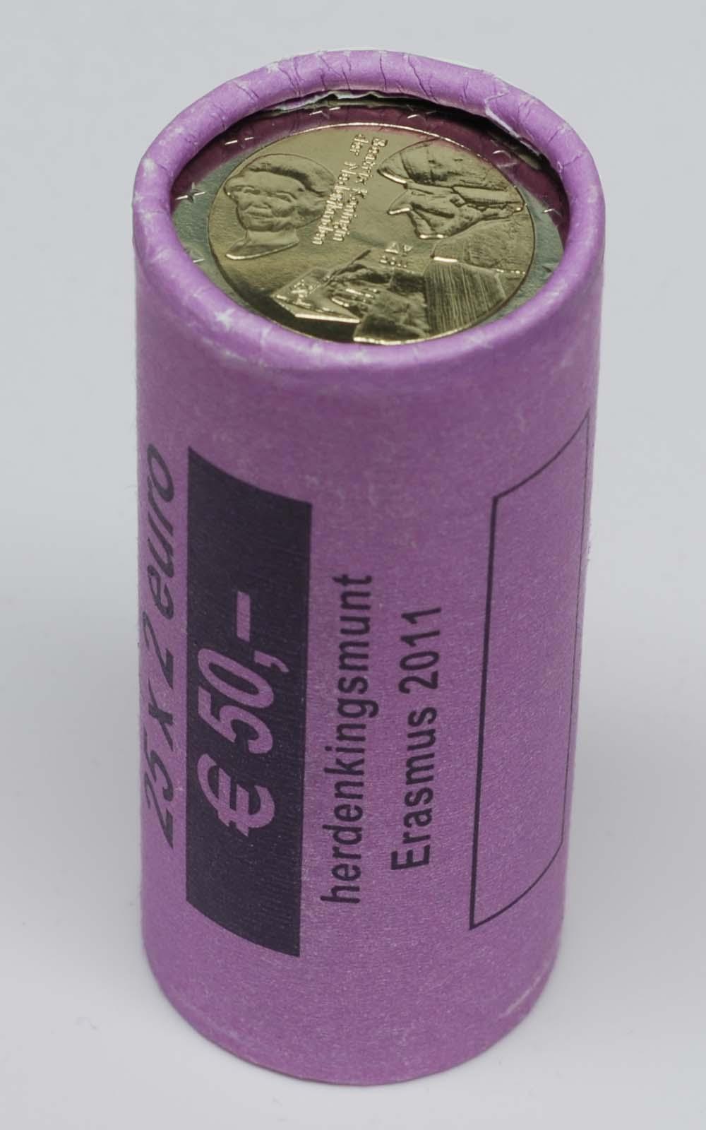 Lieferumfang:Niederlande : 2 Euro Originalrolle Erasmus 25 x 2 Euro Blindrolle  2011 Stgl. 2 Euro Rolle Erasmus 2011