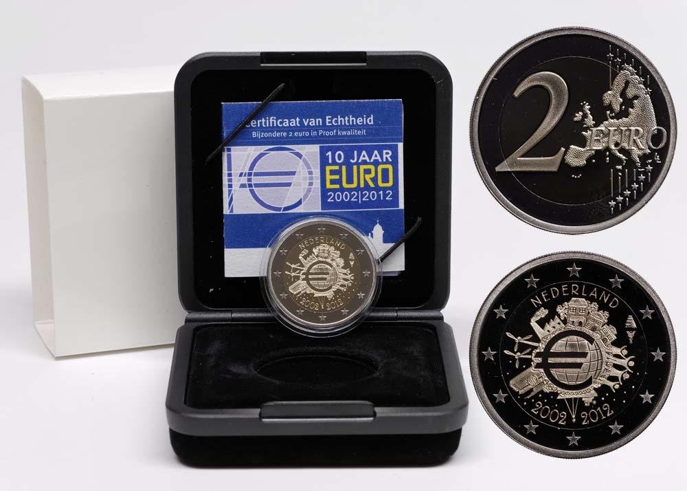 Niederlande : 2 Euro 10 Jahre Euro Bargeld  2012 PP