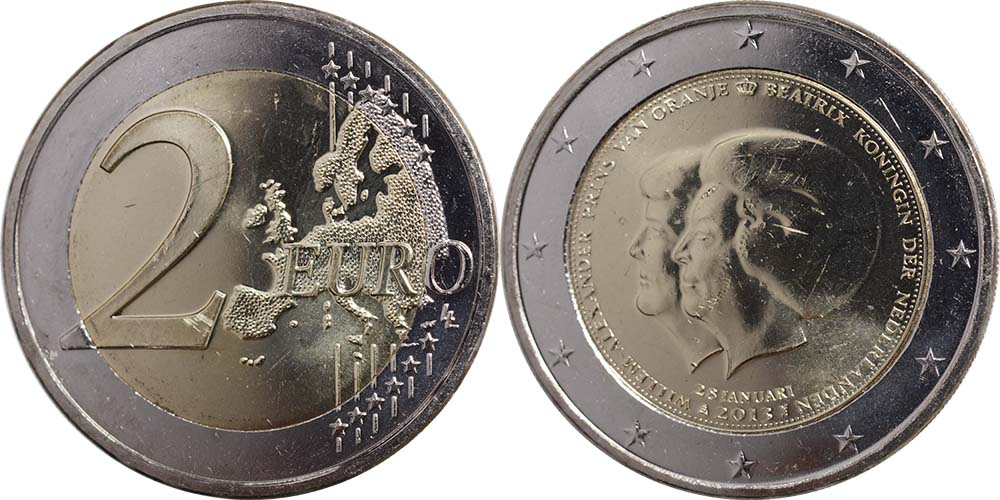 Niederlande : 2 Euro Thronwechsel - Doppelportrait Beatrix / Willem Alexander  2013 Stgl.
