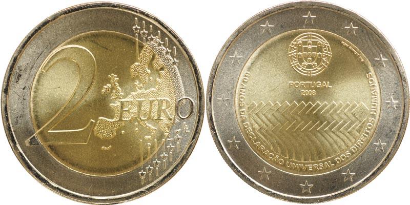 Lieferumfang:Portugal : 2 Euro Menschenrechte  2008 bfr Portugal 2 Euro Menschenrechte 2008