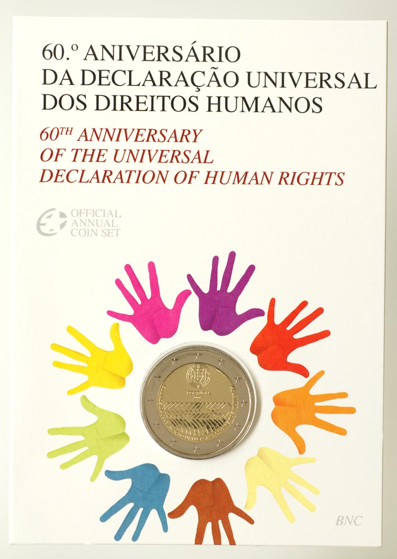 Portugal : 2 Euro Menschenrechte im Originalblister  2008 Stgl. Portugal 2 Euro Menschenrechte 2008