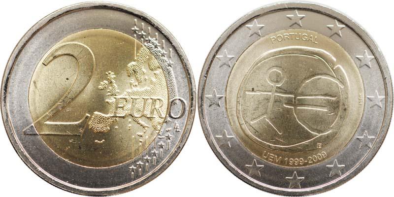 Portugal : 2 Euro 10 Jahre Euro  2009 bfr