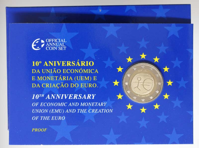 Lieferumfang:Portugal : 2 Euro 10 Jahre Euro in Originalblister  2009 PP