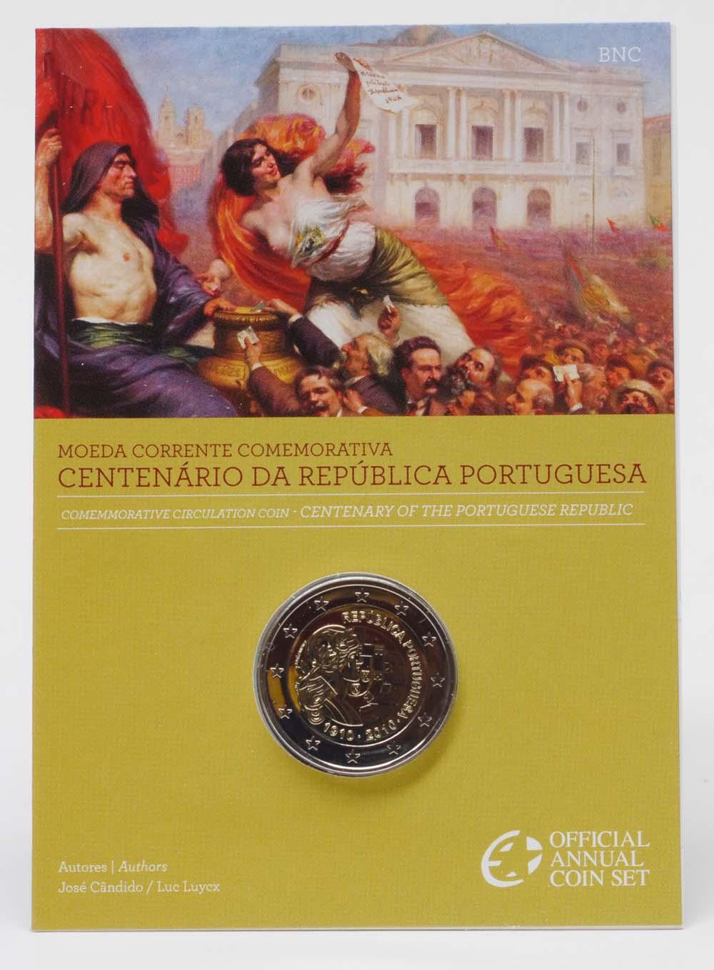 Lieferumfang:Portugal : 2 Euro 100 Jahre Portugiesische Republik im Originalblister  2010 Stgl.