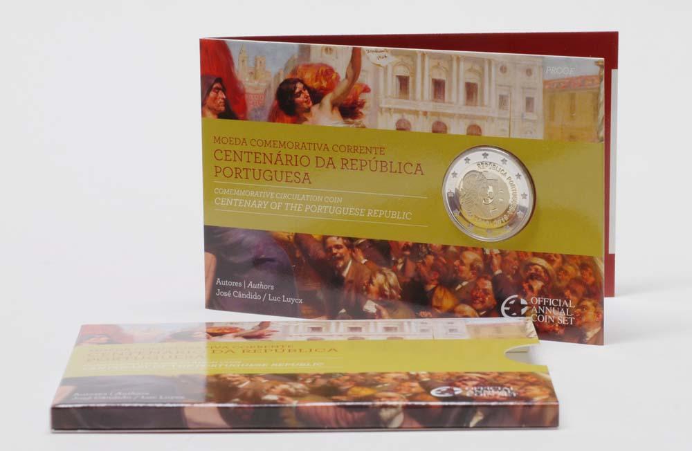Lieferumfang:Portugal : 2 Euro 100 Jahre Portugiesische Republik im Originalblister  2010 PP 2 Euro Portugal 2009 PP