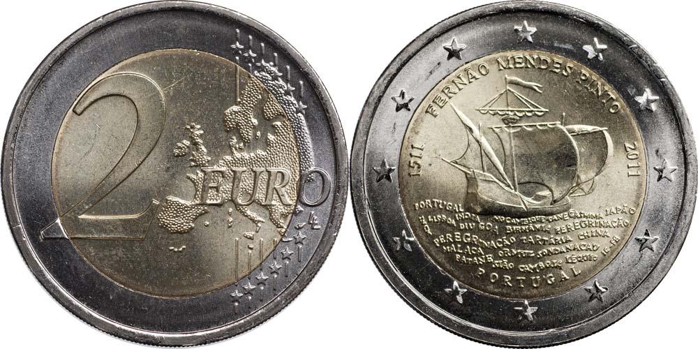 Portugal : 2 Euro 500. Geburtstag von Fernao Mendes Pinto  2011 bfr 2 Euro Pinto 2011