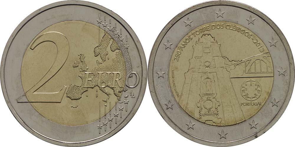 Lieferumfang:Portugal : 2 Euro Torre dos Clérigos  2013 bfr