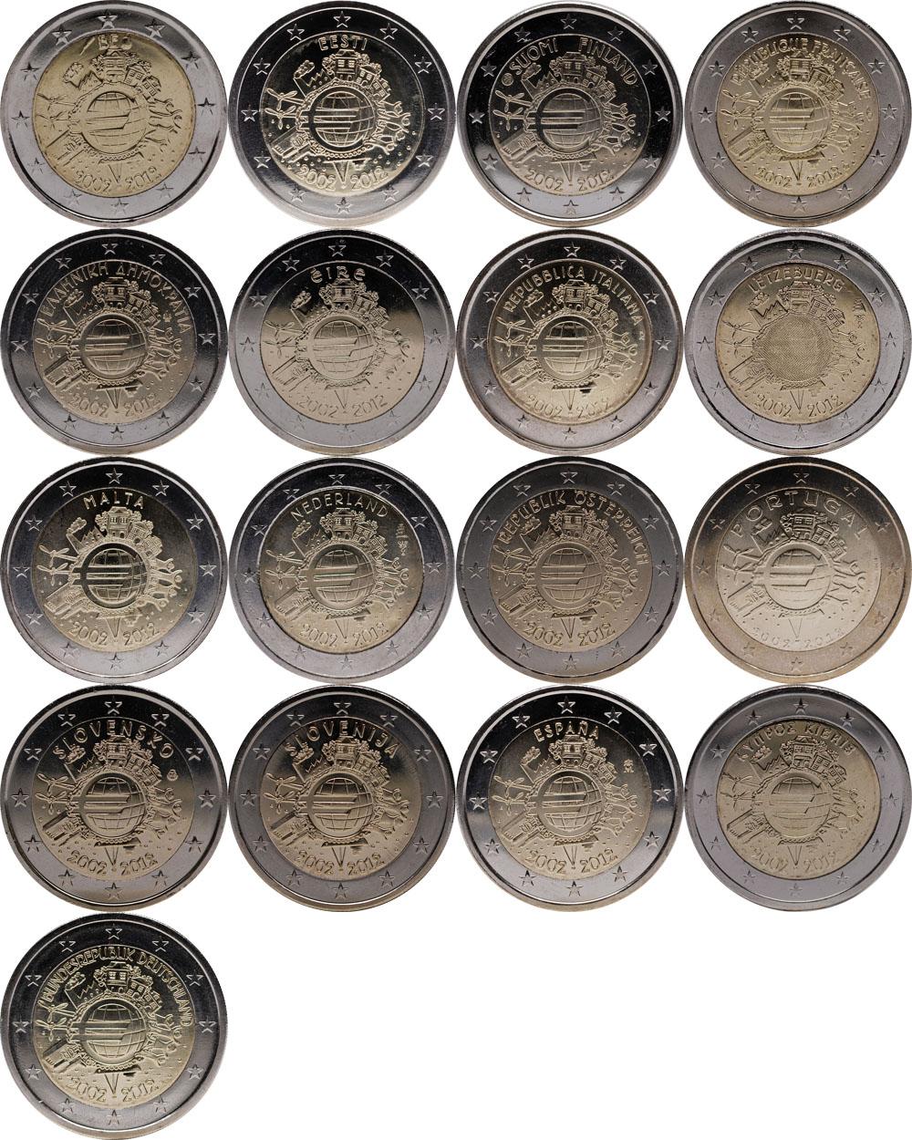 International : 2 Euro 17 x 2 Euro 10 Jahre Euro Bargeld (Belgien, Deutschland, Estland, Finnland, Frankreich, Griechenland, Irland, Italien, Luxemburg, Malta, Niederlande, Österreich, Portugal, Slowakei, Slowenien, Spanien, Zypern)  2012 Stgl.
