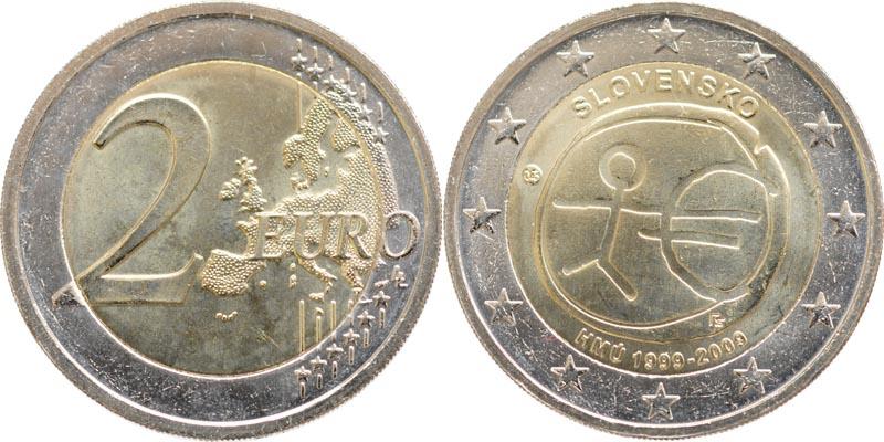 Übersicht:Slowakei : 2 Euro 10 Jahre Euro  2009 bfr