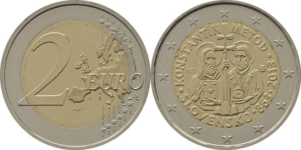 Übersicht:Slowakei : 2 Euro Cyrill und Method  2013 bfr