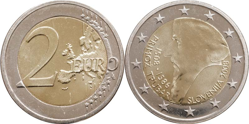 Übersicht:Slowenien : 2 Euro Primoz Trubar  2008 bfr 2 Euro Trubar 2008 ; 2 Euro Slowenien 2008