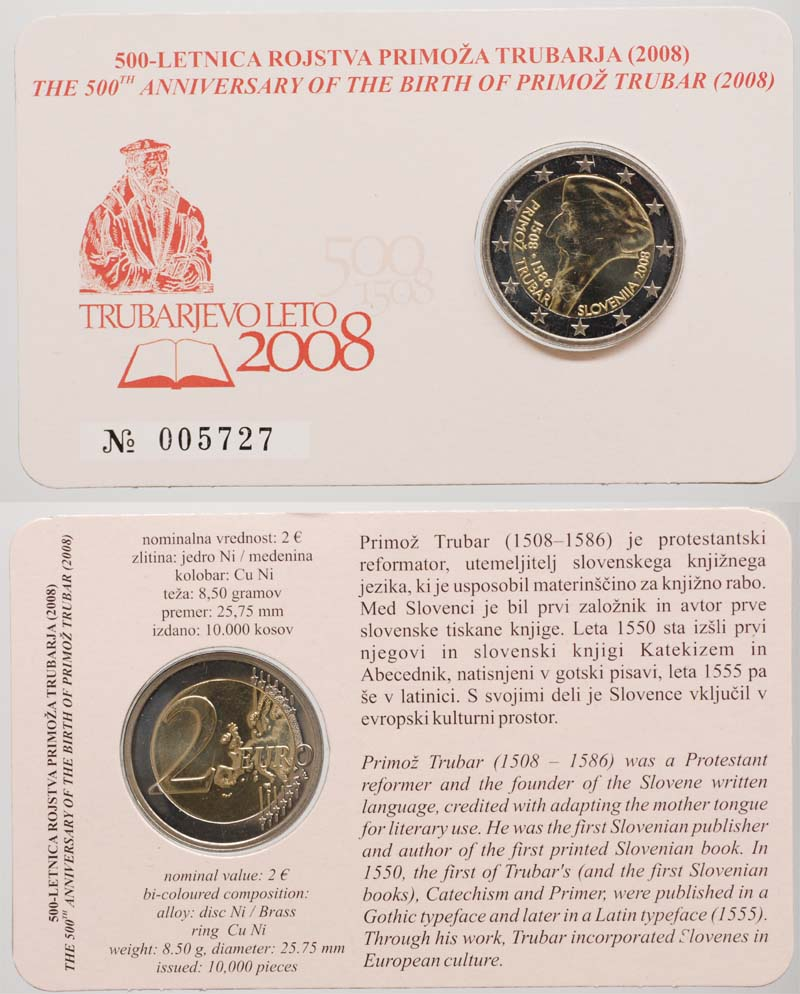 Slowenien : 2 Euro Primoz Trubar  2008 Stgl. 2 Euro Trubar in Coincard