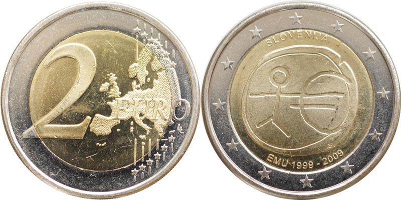 Slowenien : 2 Euro 10 Jahre Euro  2009 bfr