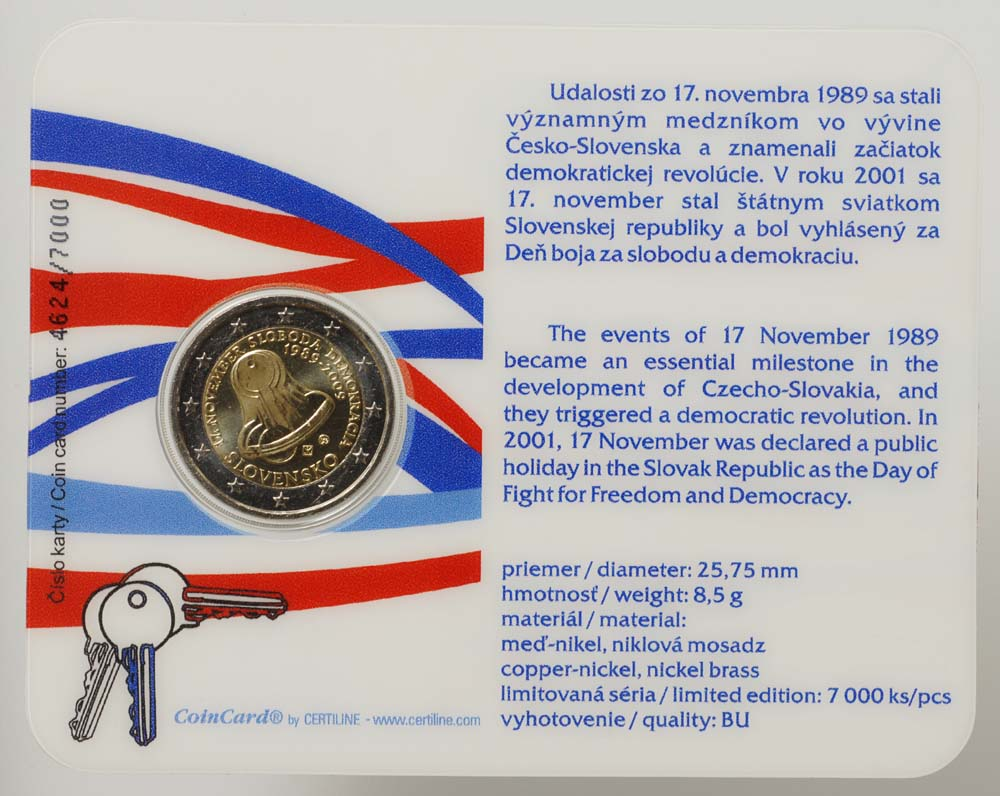 Übersicht:Slowakei : 2 Euro Samtene Revolution in Original-Coincard  2009 Stgl.