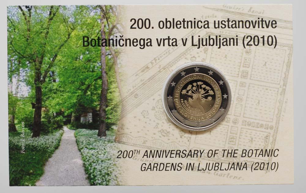 Übersicht:Slowenien : 2 Euro 200 Jahre Botanischer Garten Ljubljana in Coincard  2010 PP