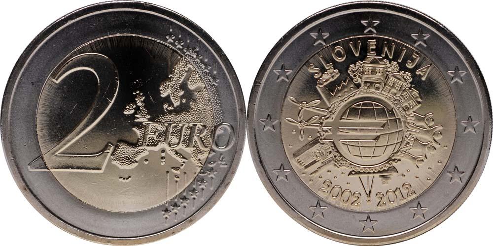 Slowenien : 2 Euro 10 Jahre Euro Bargeld  2012 bfr