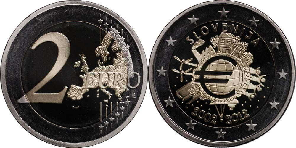 Slowenien : 2 Euro 10 Jahre Euro Bargeld  2012 PP
