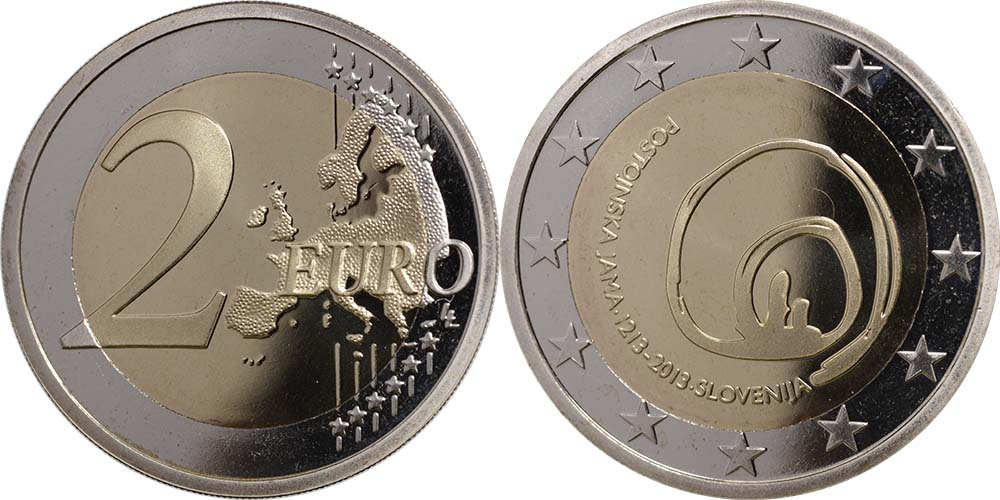 Slowenien : 2 Euro Höhlen von Postojna  2013 PP