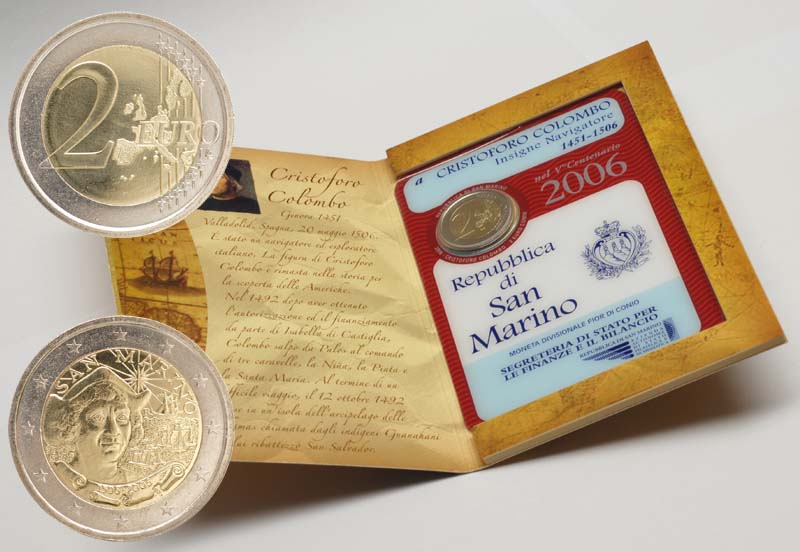 Lieferumfang:San Marino : 2 Euro Kolumbus  2006 Stgl. 2 Euro Columbus 2006; 2 Euro San Marino 2006