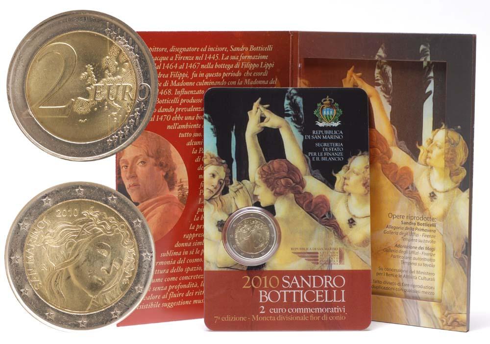 Übersicht:San Marino : 2 Euro 500. Todestag von Sandro Botticelli  2010 Stgl.