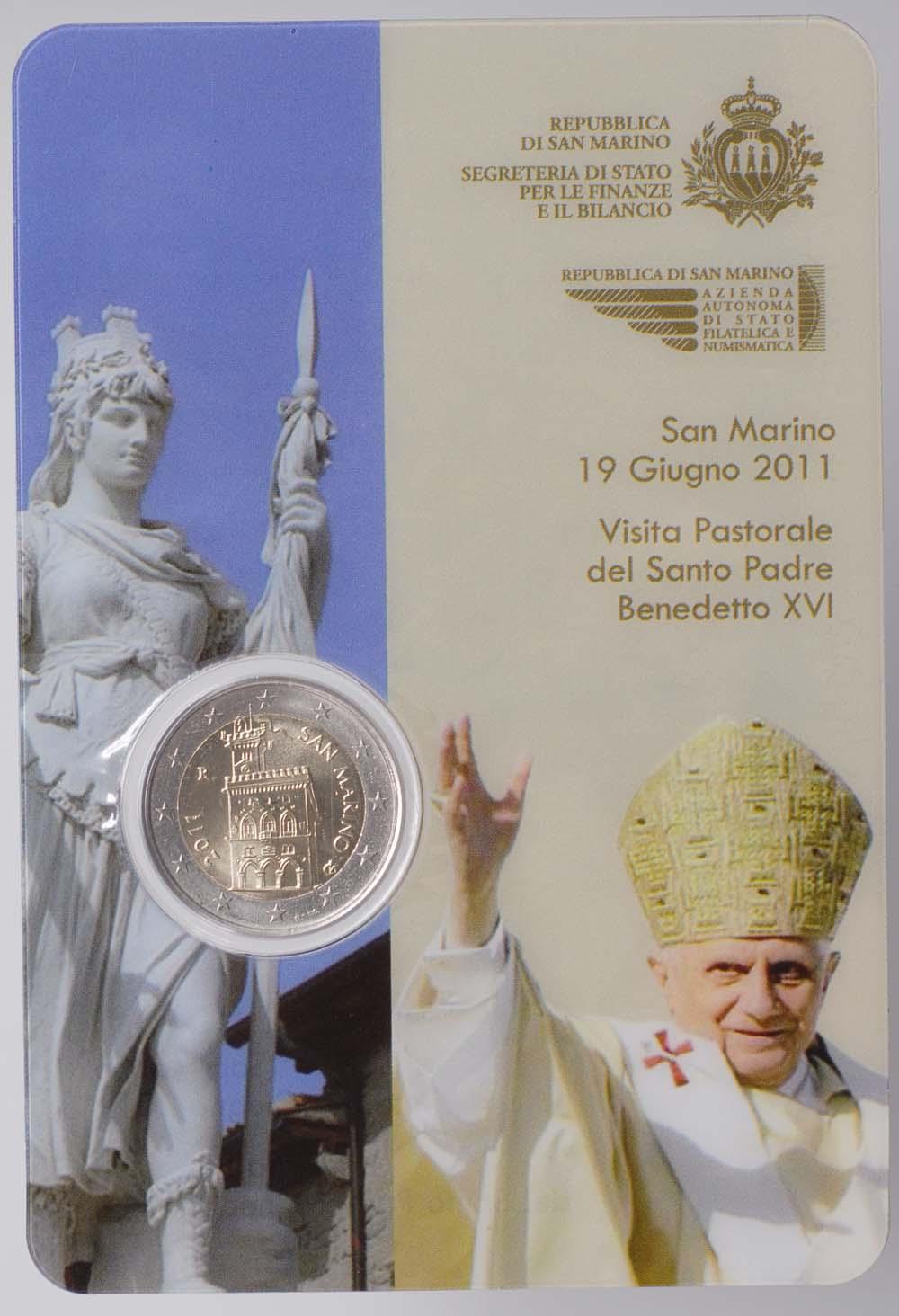 Lieferumfang:San Marino : 2 Euro Kursmünze Papstbesuch Benedikt XVI.  2011 Stgl.