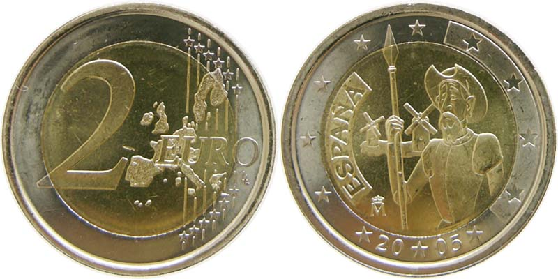 Spanien : 2 Euro Don Quijote  2005 bfr 2 Euro Spanien 2005