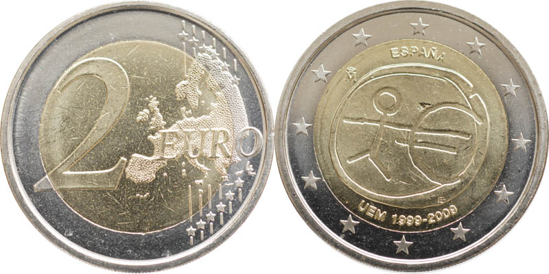 Spanien : 2 Euro 10 Jahre Euro  2009 bfr