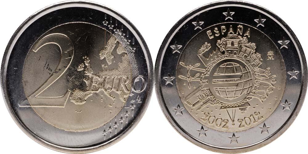 Lieferumfang:Spanien : 2 Euro 10 Jahre Euro Bargeld  2012 bfr