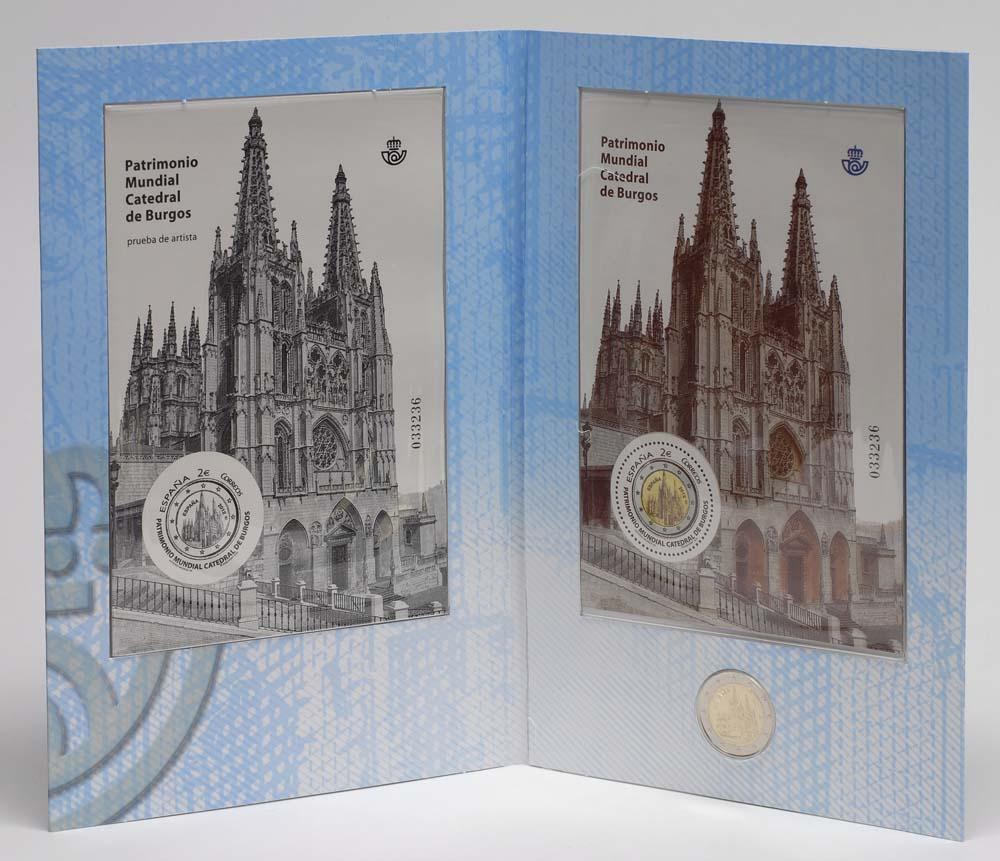 Lieferumfang:Spanien : 2 Euro Burgos + Briefmarken  2012 Stgl.