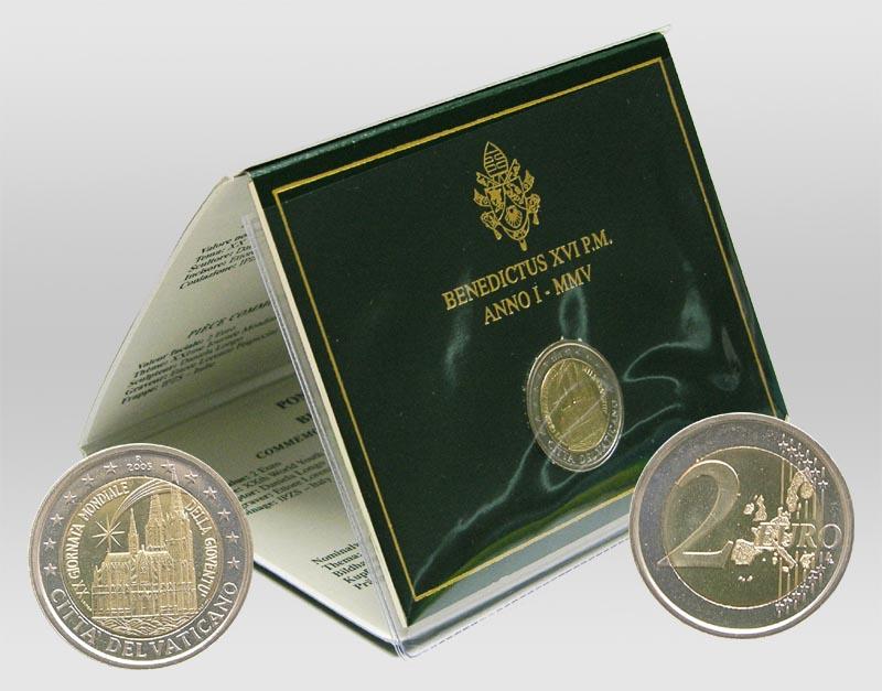 Lieferumfang:Vatikan : 2 Euro Weltjugendtag Köln / Kölner Dom  2005 Stgl. 2 Euro Vatikan 2005