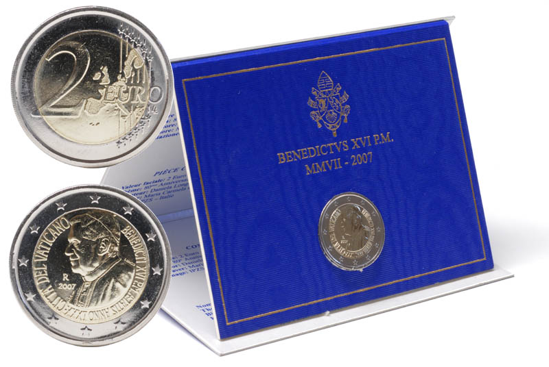 Übersicht:Vatikan : 2 Euro 80. Geburtstag des Papstes  2007 Stgl. 2 Euro Vatikan 2007