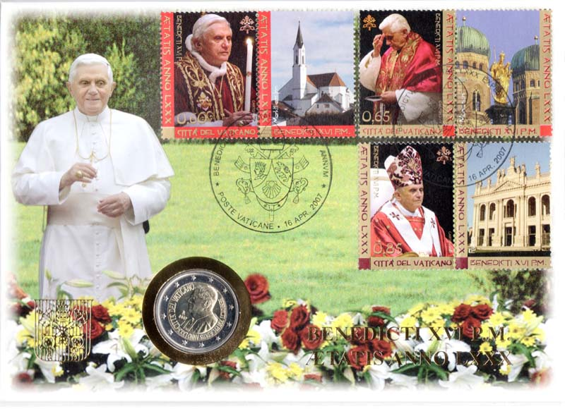 Vatikan : 2 Euro 80. Geburtstag des Papstes mit Briefmarke  2007 Stgl.