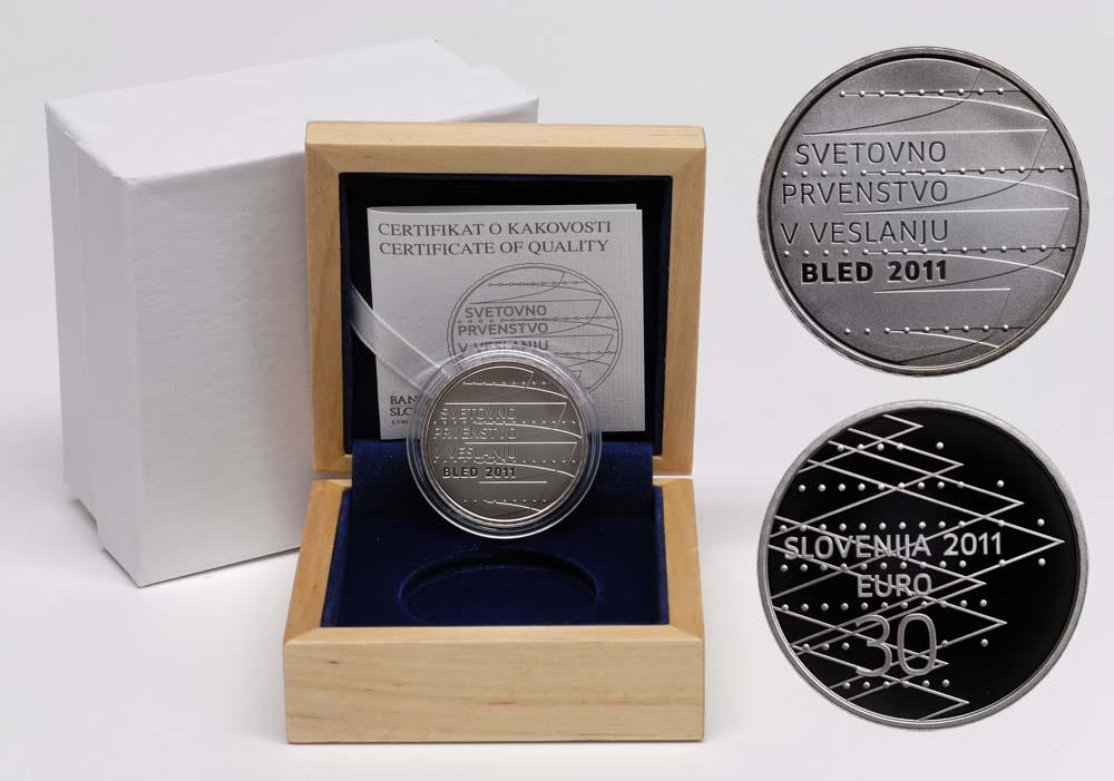 Lieferumfang:Slowenien : 30 Euro Ruder Weltmeisterschaft in Bled  2011 PP