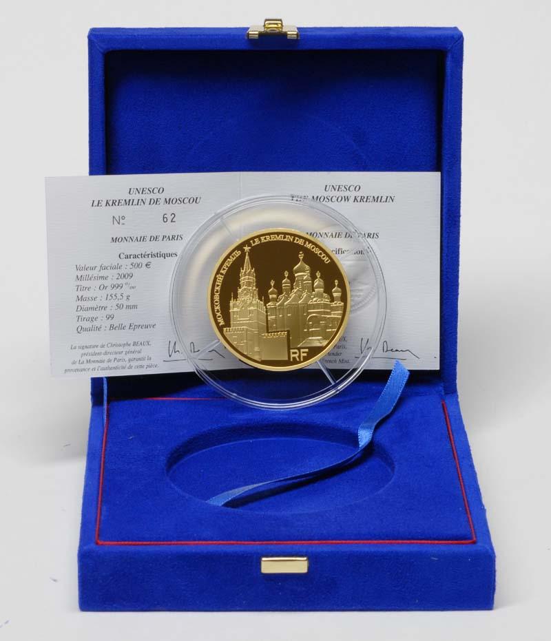 Lieferumfang:Frankreich : 500 Euro Moskauer Kreml inkl. Originaletui und Zertifikat  2009 PP 500 Euro Kreml
