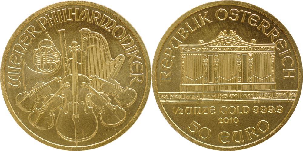 Lieferumfang:Österreich : 50 Euro 1/2 Unze  2010 Stgl.