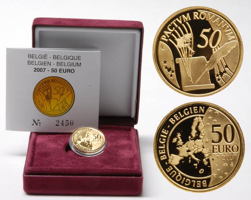 Lieferumfang:Belgien : 50 Euro Römische Verträge inkl. Originaletui und Zertifikat  2007 PP 50 Euro Römische Verträge