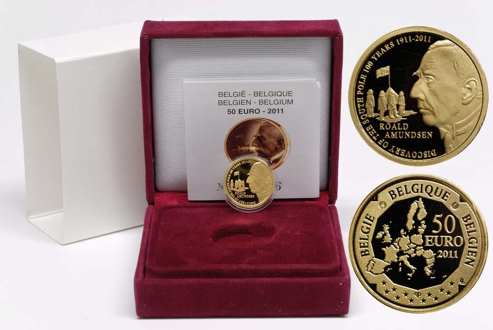 Lieferumfang:Belgien : 50 Euro Amundsen Entdeckung des Südpols in Zusammenarbeit mit Norwegen  2011 PP