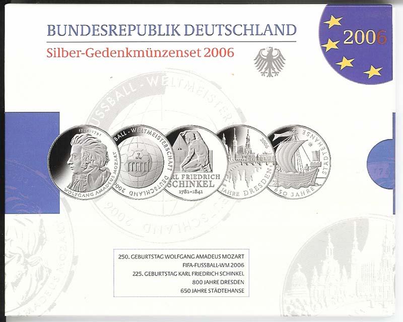 5x10 Euro Gedenkmünzen Silberset Deutschland 2006 Original Pp