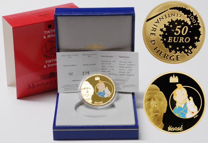 Frankreich 50 Euro Tim Und Struppi 2007 Pp Gold