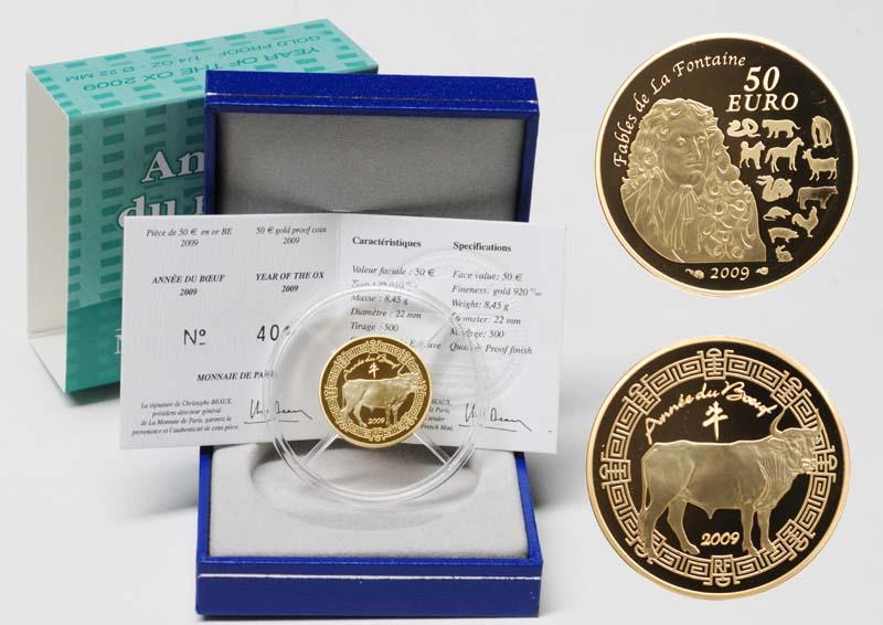 Lieferumfang:Frankreich : 50 Euro Jahr des Ochsen inkl. Originaletui und Zertifikat  2009 PP 50 Euro Jahr des Ochsen 2009