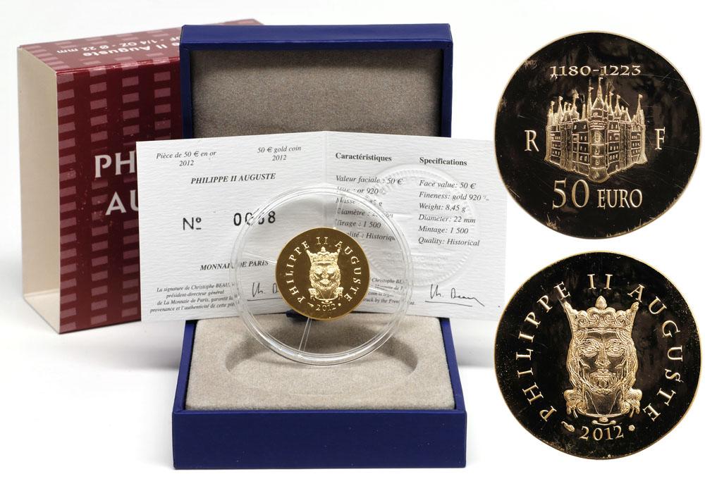Lieferumfang:Frankreich : 50 Euro Philipp II. August  2012 Stgl.